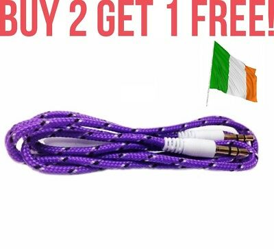 Purple Braided Extra Strong 3.5mm to 3.5mm Car Aux Auxiliary Stereo Radio Cable