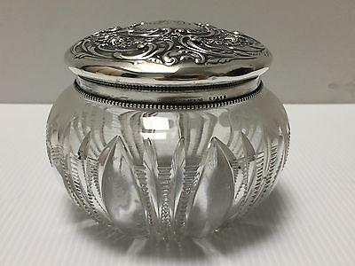 GORHAM Decorative Etched Crystal Sterling Silver Victorian Dresser Jar Repousse