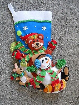 Finished 3D Dimensions FELT WORK boy stocking TOBOGGAN TRIO SLED completed NEW