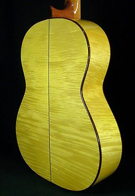 Spanish Guitar Juan Montes. Flamed Maple. Guitarra Flamenco Yellow. Hard Case