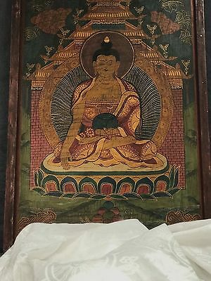 SACRED  THANGKA of the BUDDHA. HAND PAINTED on WOOD. KATHMANDU, NEPAL.