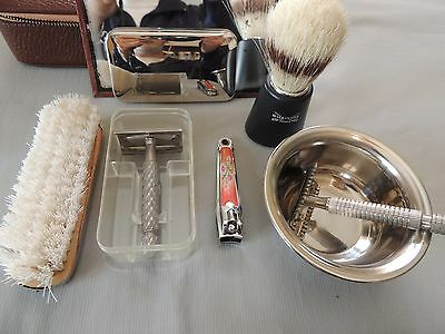 Gillette Manual Shaving Machine Set with Leather Case