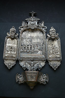 MAGNIFICENT PIECE OF 19th C.  Silver Hanging Holy Water Font w/ Folding Panels