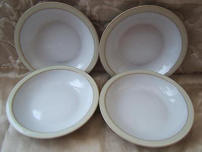 Denby LINEN - oatmeal - set of 4 x RIMMED BOWLS soup cereal dessert SUPERB