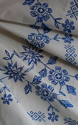 Vintage Hand Embroidered Tablecloth Linen Blue White Flowers Large - Gorgeous!
