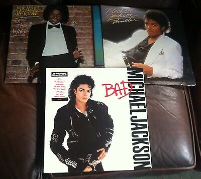Michael Jackson 3 Lp Albums Off The Wall Thriller Bad
