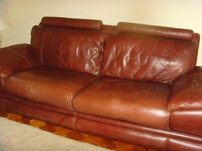 Brown Leather high quality 3 piece suite