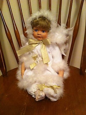 '06 AEL brand porcelain baby girl winter angel doll White Feather Wings Feathers
