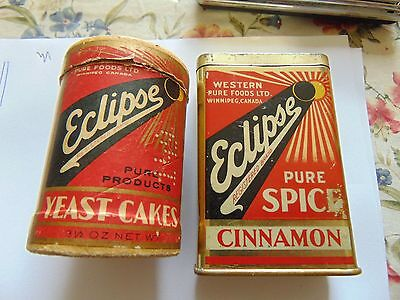 Eclipse Brand Yeast Cakes And Cinnamon Tin Rare Empty Containers
