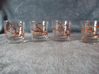 Federal Glass Hand Painted Orange Flowers Old Fashioned Rocks Glasses Signed