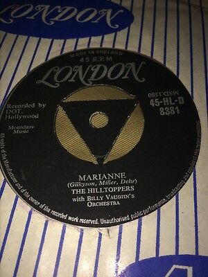 """The Hilltoppers RARE.7""""original Rock 45 RPM 🎸.Marianne.London Try Centre Ex"""