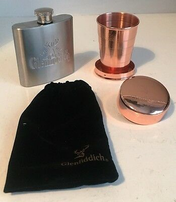 Glenfiddich Whisky Collapsible Metal Shot Cup & 2.5 Oz Stainless Steel Hip Flask