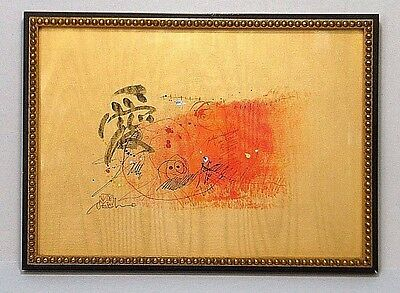 SiGNED ASiAN CHiNESE JAPANESE MiD CENTURY ABSTRACT ART INK PAiNTING ON GOLD SiLK