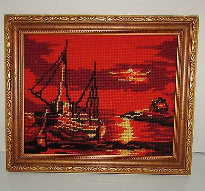 "FRAMED COMPLETED  NEEDLEPOINT "" SAILING BOAT ""  10""  X  12"" approx"