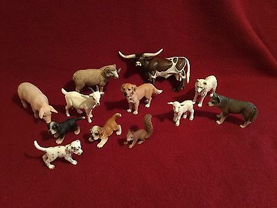 Schleich Farm Animals (12) from a Long Horn Steer to a Curley Horn Sheep