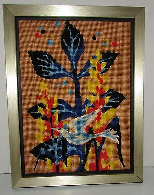 "FRAMED COMPLETED  NEEDLEPOINT "" ABSTRACT BIRD ""  10""1/4""  X  13"" 1/4 approx"