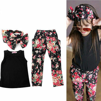 3Pcs Baby Girls Clothes Outfits Vest + Pants + Headband Summer Kids Clothing 7T