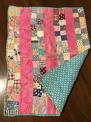 "ANTIQUE VINTAGE DOLL QUILT 4 Square Strip Turquoise Polka Dot 22""x17"" Handmade"
