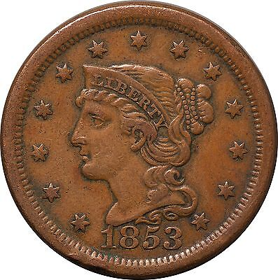 1853 Large One Cent Braided Hair Liberty XF