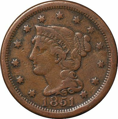1851 Large One Cent Braided Hair Liberty VF