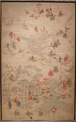 c.1800 antique Chinese scroll paining Taoist Immortals landscape
