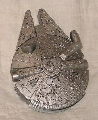 Star Wars Millenium Falcon 1996 LFL silver plastic toy with blueprint HOPE IND