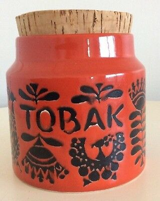 Vintage 1960s-1970s Swedish Pottery Tobak Jar/ Container.