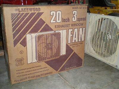 LAKEWOOD 20 Inch WINDOW FAN, 3 Speed Metal Blade, WINDOW FRAME Mount With BOX