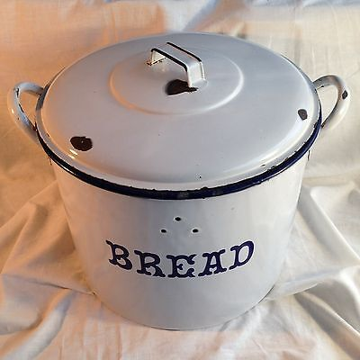 Vintage Retro Enamel Old Bread Bin Storage Shabby Chic Pet Food Antique