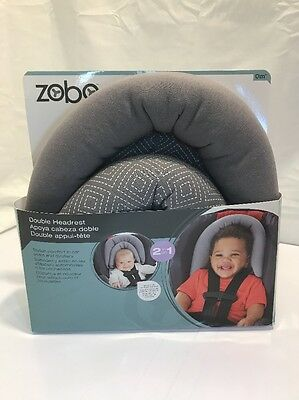 New Zobo Reversible Double Car Seat and Stroller Headrest, Gray Free Shipping