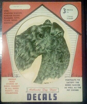 Vintage Dog Head Decals KERRY BLUE TERRIER Original Package Pet Supply Imports