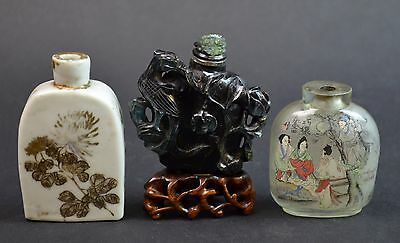 3 Pieces of Chinese Porcelain, Jade and Glass Snuff Bottles