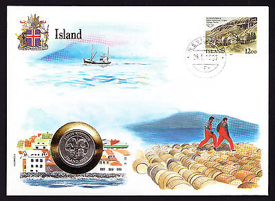 UN 1987 Numisbrief Island Iceland coin cover Ship Sea cachet Seydisfjordur stamp