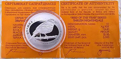Belarus 10 Rubles 2007 Thrush Nightingale Silver Proof Die Nachtigall Silber PP