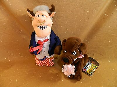 Infamous Meanies BULL (BILL) CLINTON + Buddy the Dog with tags by Topkat 1997/98