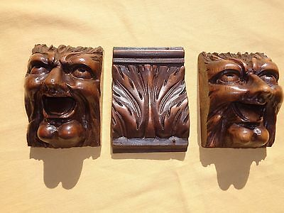 antique french carved wood gargoyles