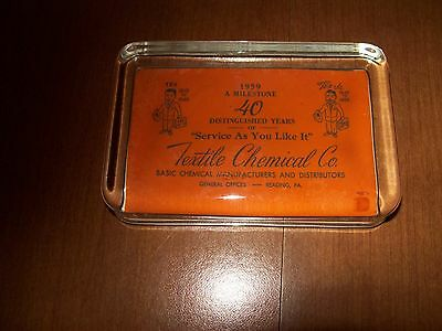 Vintage Advertising Paperweight for the Textile Chemical Company, Reading, PA