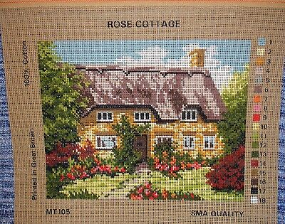 Needlework Tapestry Canvas Rose Cottage Thatch Garden Country Chocolate Box