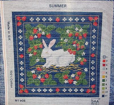 Summer Needlework Tapestry Canvas White Rabbit Bunny Strawberry Patch Thief Luck