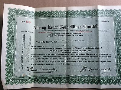 Albany River Gold Mines Ltd, 1938 Share Certificate, Ontario