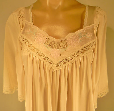Vintage Long Night Gown Negligee Floral Lace Trim Dress Lingerie Small