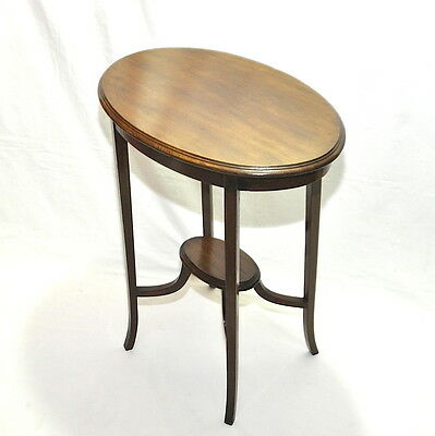 Elegant Edwardian Oval Occasional Mahogany Table With Tier
