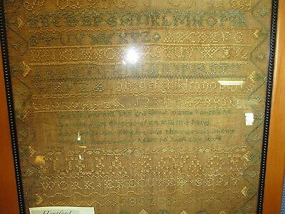 Antique American Hand Done Sampler, Hartford, Ct.