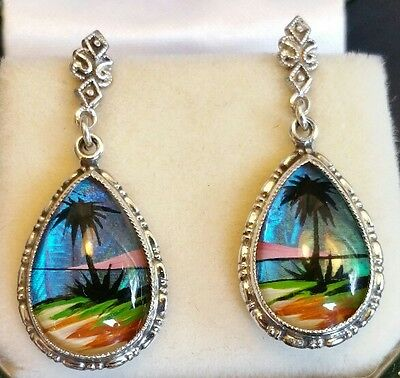 Ladies Quality Vintage 925 Sterling Silver Caribbean Glass Screw-Back Earrings