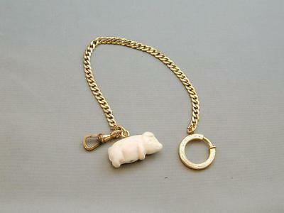 Antique Hand Carved Angel Skin Coral Pig FOB & Pocket Watch Chain