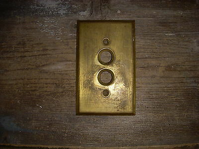 Vtg Antique Rustic Brass Double Push Button Switch Plate Aged Patina Craft Use