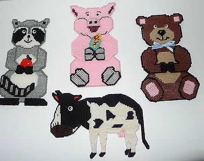 Lot Of  4  Vintage Completed Handmade Animals Needlepoints On Plastic Canvas