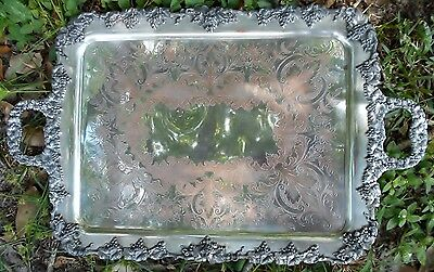 Antique E.G. Webster & Son Large Ornate Silverplate Footed Butler's Serving Tray