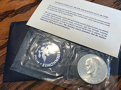 1972 Eisenhower Uncirculated Silver Dollar - 40% Silver Blue Pack