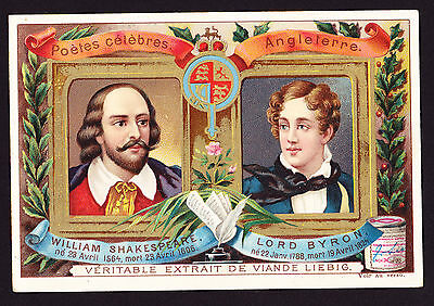 British Authors William Shakespeare Lord Byron Advert Trade Card 7.1cm X 10.5cm